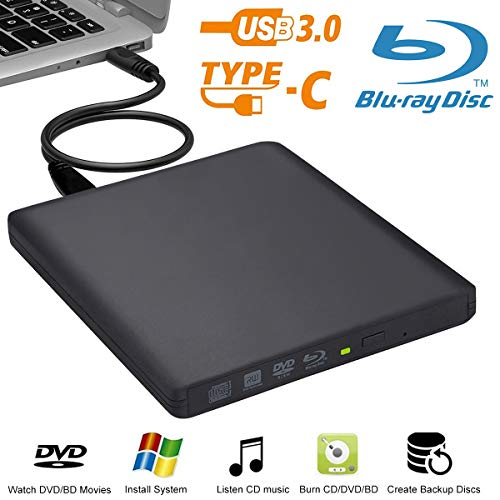 Externes Blu-Ray-Laufwerk Biscon USB 3.0 externer DVD Blu-Ray-Brenner für Mac / PC / MacBook Pro AirWindows 10/7/8
