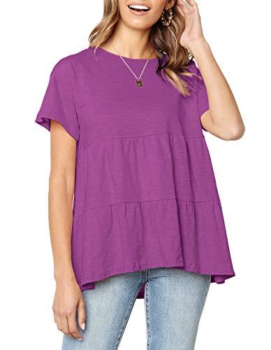 Women's Casual Short Sleeve Loose Blouse High Low Hem Ruffle Peplum Tops T Shirts (Purple, XL)