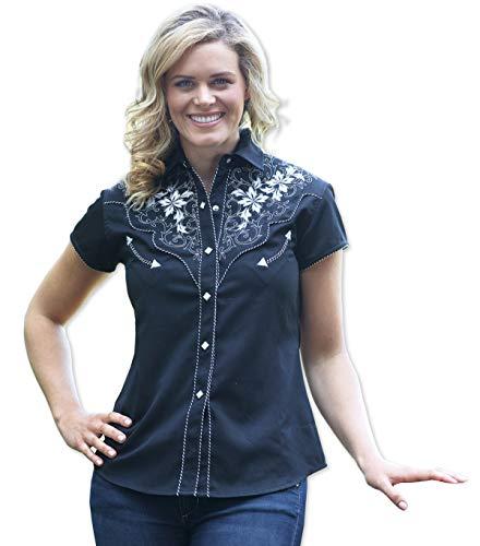 Preisvergleich Produktbild STARS & STRIPES Kurzarm-Westernbluse Isabel - Westernwear-Shop Edition Damen Westernhemd Westernkleidung Westernshirt Westernoberteil Westernoutfit für Frauen (X-Large) Schwarz