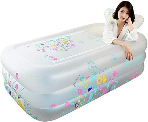 Color blanco Bañera inflable de plástico portátil plegable bañera remojo bañera casera SPA baño equipado con bomba de aire eléctrica