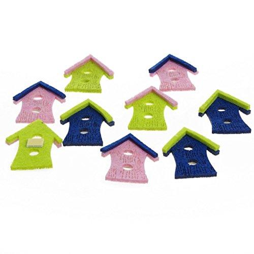 Vogelhuisje, vilten huisje, kaartontwerp, knutselmateriaal, lente Pasen, zomer, tafeldecoratie, cadeaudecoratie, vogelhuisje met plakpunt, groen, roze, blauw, ca. 6 cm - 12 stuks - 91076