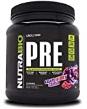 NutraBio PRE Workout Powder - Sustained Energy, Mental Focus, Endurance - Clinically Dosed Formula - Beta Alanine, Creatine, Caffeine, Electrolytes - 20 Servings - Grape Berry Crush