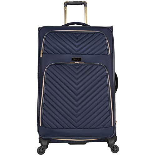 Kenneth Cole Reaction Women's Chelsea 28' Softside Chevron Quilted Expandable 4-Wheel Spinner Checked Suitcase, Navy