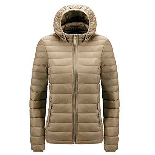 TSPRING Women Winter Cotton Jacket Lightweight Cotton Clothing Slim Fit Hooded Jacket Atmungsaktiv: Damen Regenjacke Mit Damen Steppjacke Leicht Daunenjacke Damen Damen Lang: Regenmantel(Khaki,XL)