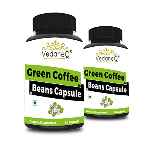 VedaneQ Green Coffee Beans For Weight Loss Capsules Supplement | Pure Green Coffee Beans Extract Double Strength 1600mg, 90 Veg Capsules, Pack of 2