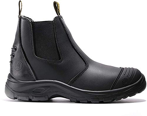 Work Boots for Men, Steel Toe Waterproof Working Boots, Slip Resistant Anti-Static Slip-on Safety EH Working Shoes 6 8 9 10 11 12 13 (LV812, 11-BLK)