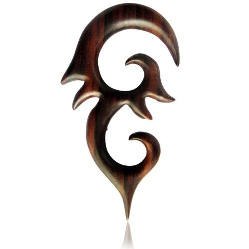 Madera Sono Chic-Net largas Piercing tribal espigas de madera Ornamento punta Unisex Expander talladas a mano 4mm Orgánica