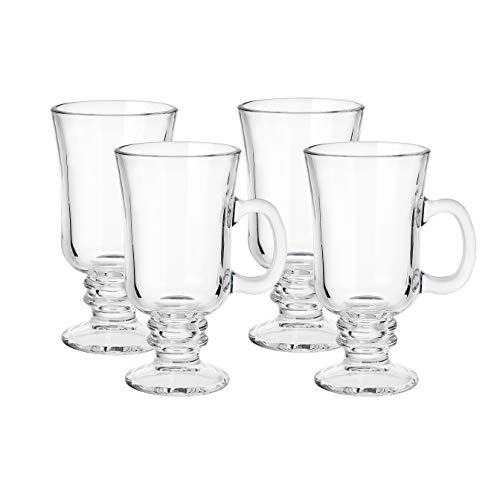 8 Ounce Clear Glass Irish Coffee Mugs, Set of 4