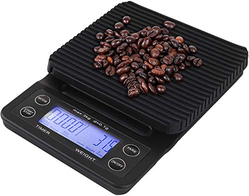TXXM Escala de Cocina Digital Goteo de Goteo de Goteo con Temporizador, 3 kg / 0,1 g de Cocina de Cocina con función de Tara, baterías Incluidas (Azul)