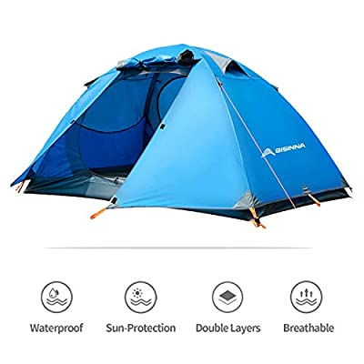 BISINNA 2 Person Camping Tent Ourdoor Lightweight Waterproof Easy Setup Two Doors 3 Season Double Layer Large Space Backbacking Tent for Camping Backpacking Hiking Travelling Hunting with Carry Bag