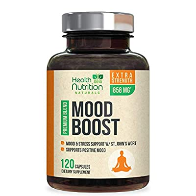 Mood Boost Support for Stress 1100mg - Positive Mood and Focus Support Supplement, Made in USA, Natural Serotonin & Dopamine Nootropic Pills with 5-HTP, Ashwagandha & GABA - 120 Capsules