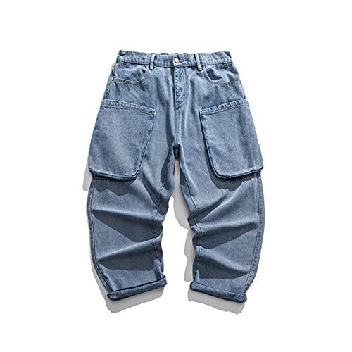 Alavo Männer Casual Hose, gerade lockere Jeans mit Taschen, Sommer Hip-Hop-Hosen,Blau,M