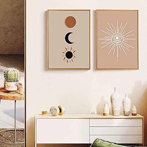 Nordic Sun Moon Wall Art Minimalistische Beige Poster Canvas Schilderij Afdrukken Pictures Fotos for Home Living Room Decor 20x28x2 inch Geen frame