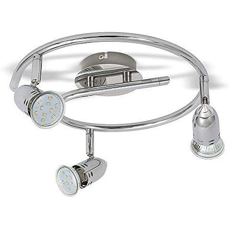 B.K.Licht plafonnier LED 3 spots orientables, 3X3W, GU10, IP20, spots plafond LED salon salle à manger chambre cuisine couloir, lumière blanche chaude