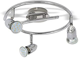 B.K.Licht - Lámpara de techo con 3 Focos LED GU10, focos ajustables y giratorios para interiores, de luz blanca cálida, 3W...