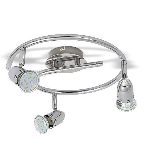 B.K.Licht - Lámpara de techo con 3 Focos LED GU10, focos ajustables y giratorios para interiores, de luz blanca cálida, 3W y 250 lúmenes, 3000K, forma en espiral, color cromo