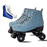 YYW Roller Skates for Women High Top Suede Roller Skates Shiny Light Up Four Wheels Double Row Roller Skates for Men with a Shoes Bag (Blue,40)