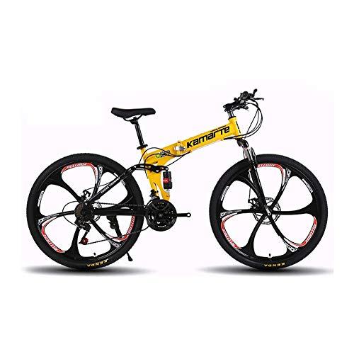 Xingxings vouwfiets, 26 inch, voor heren en dames, inklapbare fiets met 21 versnellingen, stadsfiets voor en achter spatborden met dual disc-brake
