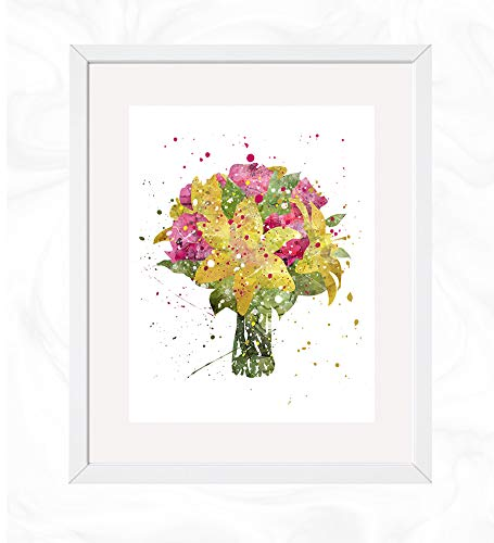 Amazon Com Flowers Bouquet Prints Floral Nature Watercolor Nursery Wall Poster Holiday Gift Kids And Children Artworks Digital Illustration Art Handmade