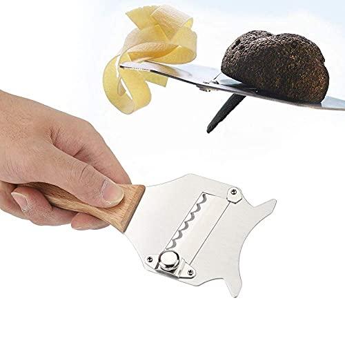 GOTOTOP Trancheuse à truffes en Acier Inoxydable, Rasoir à Fromage au Chocolat avec Lame réglable et poignée en Bois pour Cuisson au Chocolat de gâteau de Cuisine