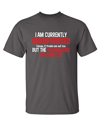 I Am Currently Unsupervised Adult Humor Novelty Graphic Sarcasm Funny T Shirt M Dark Grey