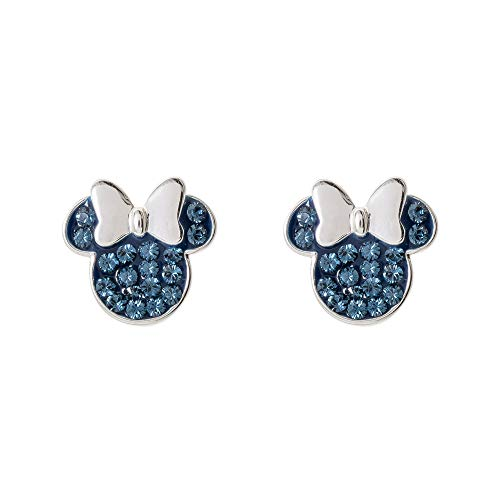 Disney Minnie Mouse Birthstone Jewelry for Women, Sterling Silver Pave Crystal Stud Earrings, December