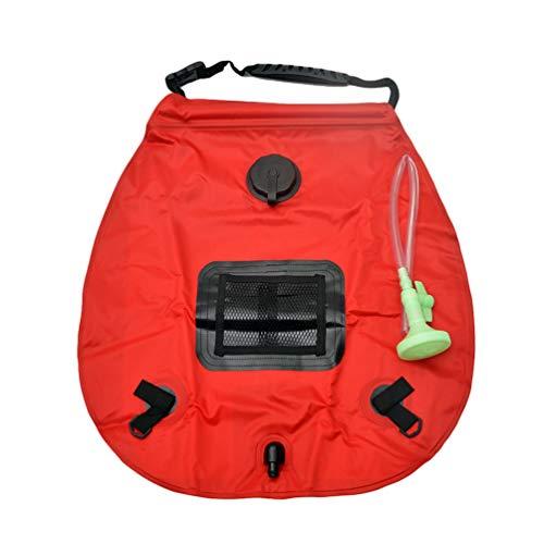 Campingdusche Solar 20L,Solardusche Camping,Solardusche Tasche,Reisedusche Outdoor Warmwasser Duschsack Solar Rot 50 * 47cm