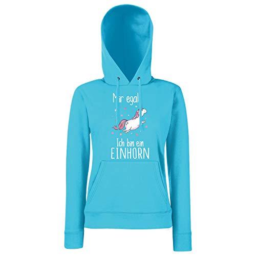 Shirt-Panda Damen Mädchen Einhorn Hoodie · Mir egal ich Bin EIN Einhorn · Fun-Kapuzenpullover mit Unicorn Motiv · Frauen Spruch Kapuzenpulli · Cool Ladyfit · Azure Blue S
