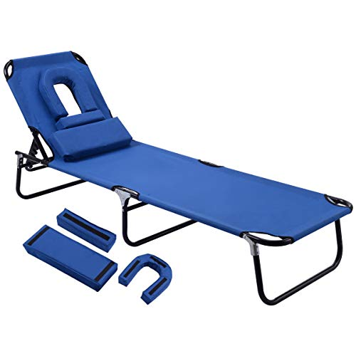 GYMAX Beach Lounge Chair, Sunbathing Chair Patio Lounge Chair Folding Adjustable Recliner with Hole...