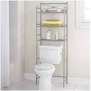 Mainstay.. 3-Shelf Bathroom Space Saver Storage Organizer Over The Rack Toilet Cabinet Shelving Towel Rack (Satin Nickel)