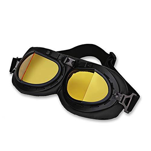Liseng - Gafas de moto de color amarillo retro-Pilot - Gafas Jet Pilot Vintage - Gafas tipo piloto WWII - Gafas de moto y scooter UV para casco