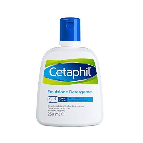 Cetaphil, Emulsione Detergente Fluido, Crema Viso e Corpo Idratante per Pelle Sensibile, Secca e Intollerante, Senza Profumo, Formato 250 ml
