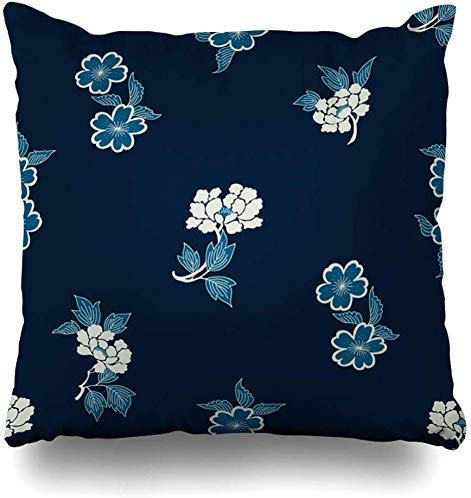 Mesllings Kussenslopen Bloemen Blauw Kimono Indigo Dye Batik Patroon Folk Abstract Navy Azië Authentieke Blok Boho Home Decor Kussensloop Kussensloop, 45X45Cm
