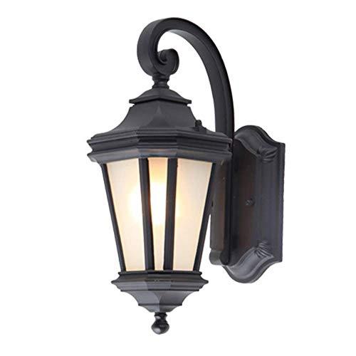 Lámpara de Pared, Lámparas de Pared Retro para Exteriores Lámpara de Pared Vintage Pared Exterior Lámpara de Exterior de Aluminio Negro Antiguo Impermeable Pantalla de Vidrio de una Sola Llama E27 L