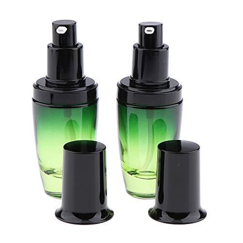 SDENSHI 2x Vide Verre Maquillage Crème Visage Lotion Contenant D'huile Essentielle Contenant Pompe Bouteille - 30ML