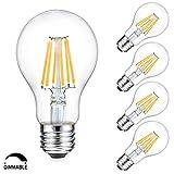 Luxvista Sin-Parpadeo 8W A60 E27 Regulable Globo Vintage Edison Bombilla LED Decorativa con 800 Lúmenes, 75-80W Equivalente (4-Unidades, Luz Cálida 2700K)