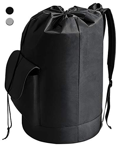 YOUDENOVA Laundry Bag Backpack with Pocket Waterproof Freestanding Black Hanging Laundry Hamper with Padded Adjustable Shoulder Straps for College Dorm Travel Camping Laundromat Oxford 16x30 Inch