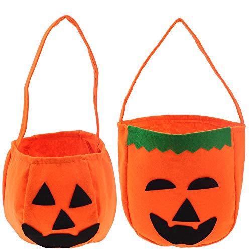 NewZC 4 Stück 2 Typen Halloween Handtasche Kinder Kürbis Tasche Süßigkeiten Taschen Behandelt Taschen Kinder Süßes oder Saures Beutel