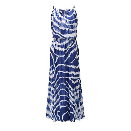 Primavera y Verano Vestido de Tirantes sin Mangas Vestido de Mujer sin Mangas teñido con Lazo (Azul Oscuro XL)