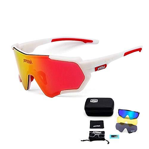 JEPOZRA Sport Sonnenbrille Fahrradbrille Sportbrille mit UV400 3 Wechselgläser inkl Schwarze polarisierte Linse für Outdooraktivitäten Radfahren Laufen Klettern Autofahren Laufen Angeln Golf Unisex