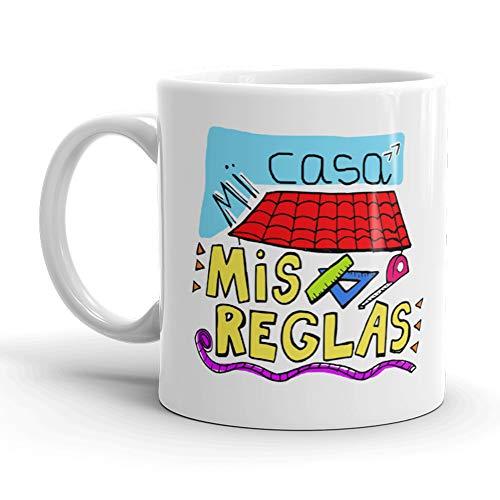 Kembilove. Taza de Desayuno para Madre y Abuela – Taza de café con Frases Graciosas Mi casa, mis Reglas – Regalo Original para el día de la Madre 5 Diseños Diferentes
