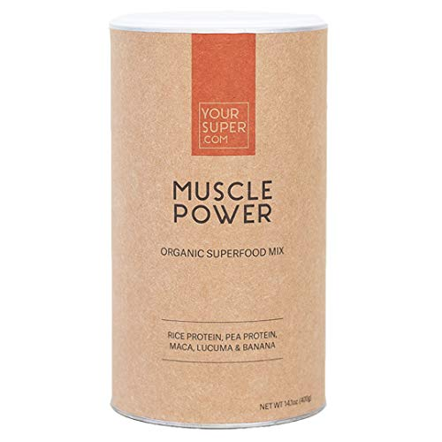 Your Super Muscle Power Superfood Mix - Plant Based Protein Powder, Workout Boost with All 9 Essential Amino-Acids, Whey Alternative, Non-GMO, Organic Maca, Lucuma - 14.1 Ounces, 26 Servings
