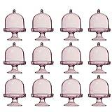 STOBOK Juego de 12 casquillos para tarta con tapa para queso y campana de cristal, mini soporte para tartas para bodas, decoración de mesa, caja de regalo de cumpleaños