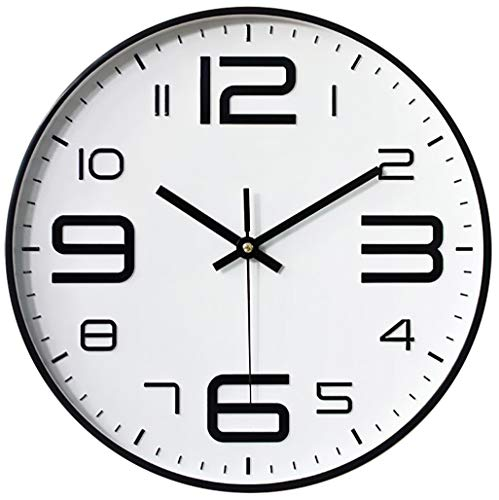 TOPPTIK Wall Clock-12 Inch Silent Non-Ticking Quality Quartz Battery Operated Round Wall Clock Easy to Read Decore for Living Room Home Kitchen Office School Classroom(Black-White-3D)