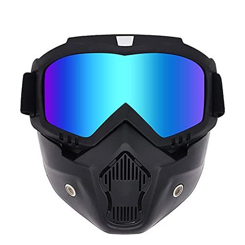 Gkotta Máscara de Airsoft Gafas de Motocicleta Máscara Facial Desmontable Gafas de Moto extraíbles Máscara de Casco Deportivo de esquí Carreras de Motos(Black/Green Water Silver Lens)