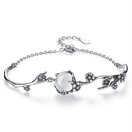 aolongwl Pulsera de plata esterlina 925 pulsera de la joyera de la moda de la mujer retro ciruela gata pulsera