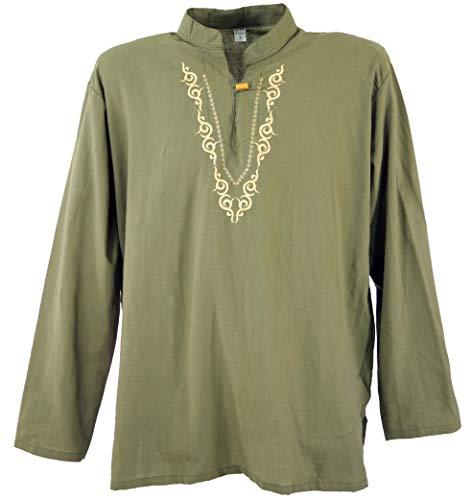 Guru-Shop Yoga Hemd Bestickt, Goa Shirt, Besticktes Freizeithemd, Mittelalterhemd, Herren, Olive Muster 4, Baumwolle, Size:M, Hemden Alternative Bekleidung