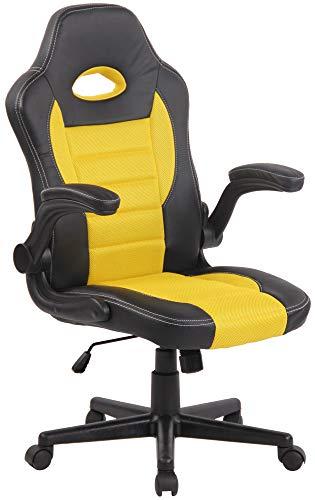 Silla gaming amarilla estilo Racing en cuero sintético