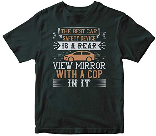 The Best car Safety Device is a Rear-View Mirror with a cop in it Unisex Tshirt, T-Shirt, Shirts