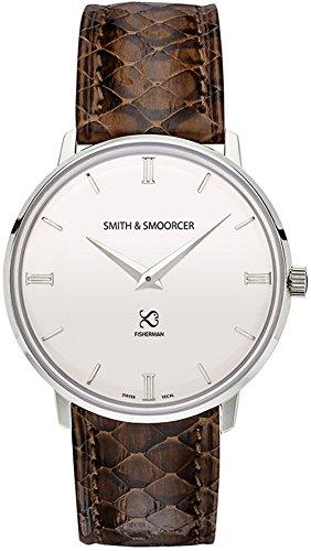 Smith & smoorcer Fisherman Snowy Viper Brown Reloj para Hombre Analógico de Cuarzo Suizo con Brazalete de Piel de Serpiente F-1617-VIP-P-B-15